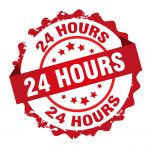 """24 Hour Bail Bonds Houston - Red """"24 hours"""" stamp."""