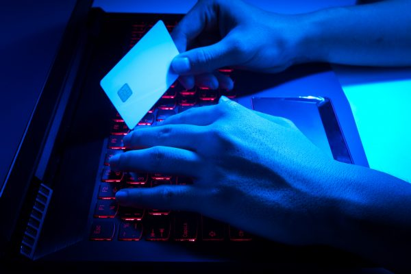 Houston credit card fraud bonds - Credit card thief entering card info into a nice laptop by moonlight. He's going to need a felony credit card fraud bond!